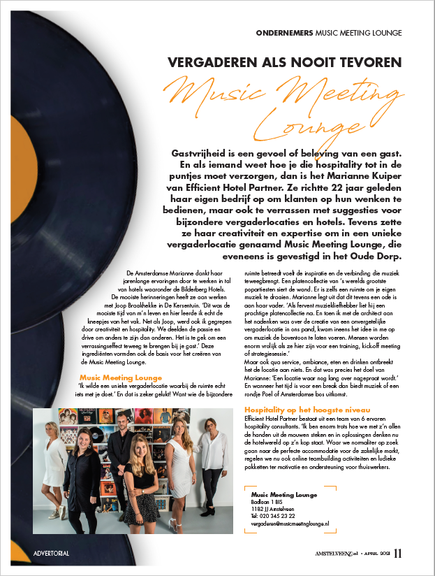 Vergaderen als nooit te voren | Music Meeting Lounge | Amstelveenz